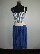blue polka skirt stripe blue corset top two piece korean dress