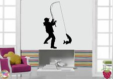 Wall Sticker Fishing Fish Relaxation Man Male Decor  z1433