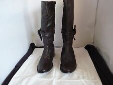 BROWN LADIES LEATHER LOW HEEL ZIP/SMALL KNOT BOOTS SIZE 9