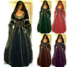 Victorian Palace Vintage Hood Dress Medieval Gothic Women Cosplay Party Costumes