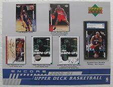2000-01 UD Encore Basketball SELL SHEET (no cards) Kobe Bryant, Kevin Garnett +