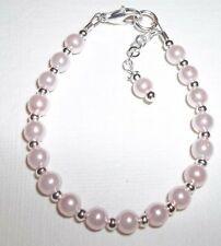 Newborn Baby Bracelet:  Petal Pink Pearl & Sterling Silver Plated Custom Size