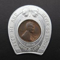 1946 Duquesne Pilsener Beer Vintage Lucky Wheat Penny Encased Good Luck Charm