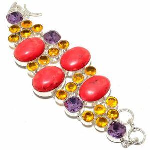 "Coral & Citrine 925 Sterling Silver Jewelry Bracelet 7-8"" LB-18"