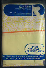 Pr Vintage Yellow & White & Yellow Stenciled Pillowcases New in Pkg Dan River
