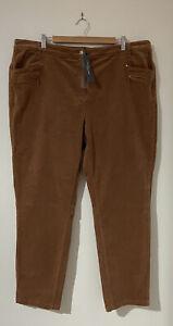 Yarra Trail Plus Size 20 W Slimline Cord Pants Toffee Brown Soft BRAND NEW!