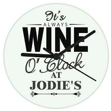 Personalised Wine O'Clock Glass Clock New Home Birthday Gift For Her Or Him