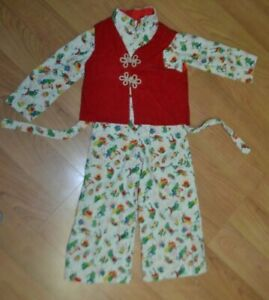 VTG 70s Girls Corduroy Frog Print Jumpsuit w/ Vest Youth Small AMAZING!