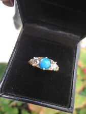Stunning Victorian .80ct Old European Cut Diamond & Turquoise 3 stone 18K Gold