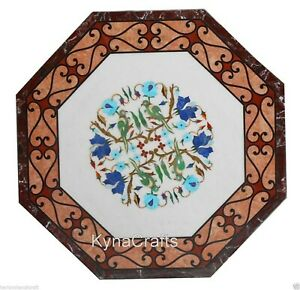 Octagon Marble Dining Table Top Beautiful Floral Pattern Patio Table 30 Inches