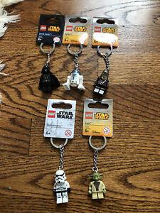 Lego Star Wars key chains lot of 5 NWT darth Vader r2d2 Chewbacca Yoda trooper