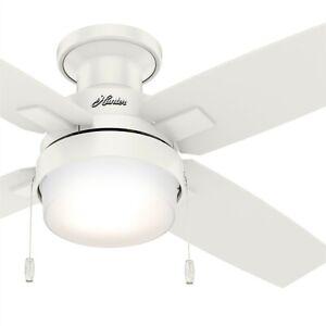 Hunter Fan 44 in Low Profile Fresh White Indoor/Outdoor Ceiling Fan with Light