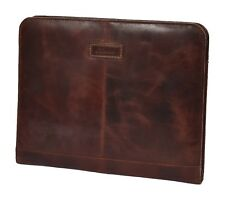 Real Leather Zip Around A4 Folio Document Holder Detachable Ring Binder Brown