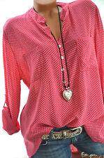 ITALY MODA Tunika OVERSIZE Hemd DOTS Bluse PINK Fischerhemd 42 44 46 Neu