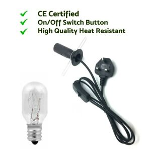 Brand New High Quality Black Salt Lamp Replacement Uk Plug ON/OF Cable