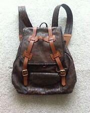 JAS MB Brown Leopard Print Leather Rucksack/Backpack - Unisex