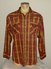 Vtg Mens Dee Cee USA red & brown plaid l/s western shirt size 17.5 - 35 or XL