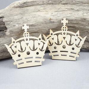 2 x Royal Crowns Embellishment MDF / Birch Plywood Laser Cut Wooden Shape Blank