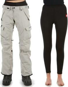 686 Women's SMARTY 3-IN-1 CARGO Snow Pants - Lt Grey - Large - NWT