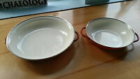 Red Enamel Tin Cookware Enamelware Pot Bowl with Handles-Red-Set of 2-SO CUTE
