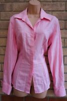 BROOK TAVERNER PINK STRIPED BUTTONED COTTON FORMAL WORK T SHIRT BLOUSE TOP 14