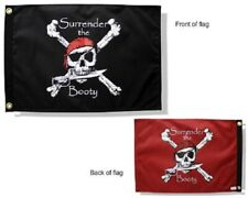 """Surrender the Booty 12"""" x 18"""" Two Sided 200Denier Double Take Flag Boat Home"""