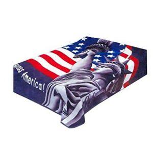 Solaron Korean Blanket Thick Plush twin/full Flag Statue Liberty Bless America