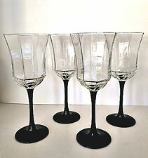 Wine Water Glasses Crystal Octagon Luminarc Arcoroc France Four Black Stems