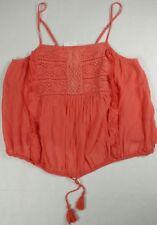 Melrose and Market Women's Sz M Orange Tank Top Cami Spaghetti Straps Crochet