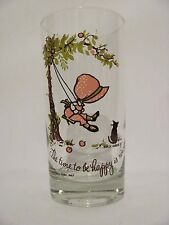 HOLLY HOBBIE American Greetings Corp 1967 Vintage Kitchen Water Glass Be Happy