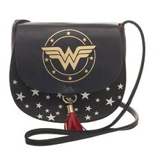 DC Comics Wonder Woman Movie Logo Saddlebag with Tassel Handbag Purse