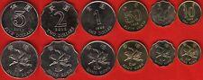 Hong Kong set of 6 coins: 10 cents - 5 dollars 1993-1998 UNC