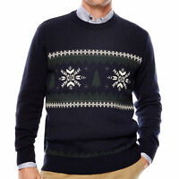 Dockers men's Snowflake Tree Crewneck Cotton Sweater Navy Blue size Large