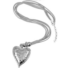 Chunky silver color large heart pendant & bead cubic grey suede fashion necklace