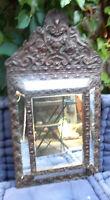 Ancien Miroir à Parclose en Bois et metal repoussé  glace au mercure 65x36