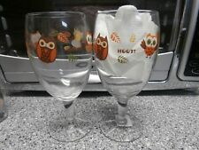 Lot of 2 Owl Wine Glasses by Libbey