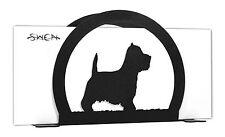 SWEN Products WESTIE TERRIER Dog Black Metal Letter Napkin Card Holder