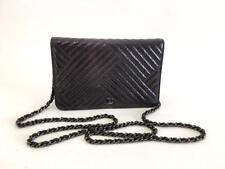 0f6276eca9bd Authentic Chanel Chevron Patent Wallet on Chain WOC Messenger Clutch Bag SHW