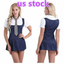 Sexy Schoolgirl Student Costume Uniform Pleated Skirt Cosplay Outfit Fancy Dress