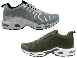 Men's Chunky Air Bubble Trainer, Green & Silver, All Sizes