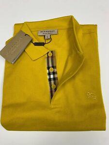 Burberry london men's gorse yellow  check placket polo shirt