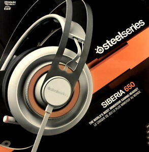 SteelSeries Siberia 650 RGB, Dolby 7.1 Full Size Gaming Headset White, open box
