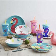 Zak Designs 16-Piece Color-Changing Tumbler Melamine Plate Bowl Dinnerware Set