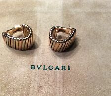 Bvlgari Bulgari TUBOGAS 18K Tri Color Gold Oval Hoop Post Clip Earrings