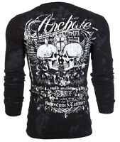 Archaic AFFLICTION Mens THERMAL T-Shirt CRUDE STYLE SkullsTattoo Biker $58