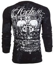 Archaic AFFLICTION Mens THERMAL Shirt WOODCUTS Abstract Tattoo Biker UFC M-3XL