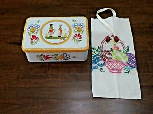 Tin Box w/Hinged Lid -France- w/Bag x Cookies made w/VTG Hand Em. KitchenTowel