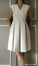 NEW WithT ME + EM Pleat Fit And Flare Ivory Smart Dress Size UK10