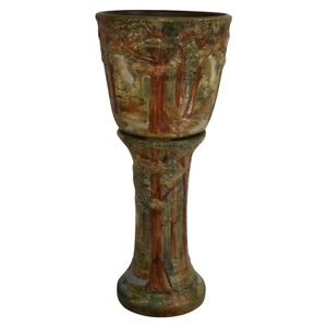 """Weller Pottery Forest 1920s Decorative 10"""" Jardiniere And Pedestal"""