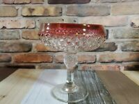 """7"""" Vintage Indiana Glass Diamond Point Ruby Red Compote Candy Dish Pedestal"""